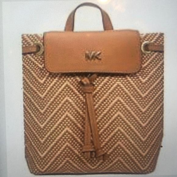 Michael Kors Junie Chevron Leather Flap Backpack